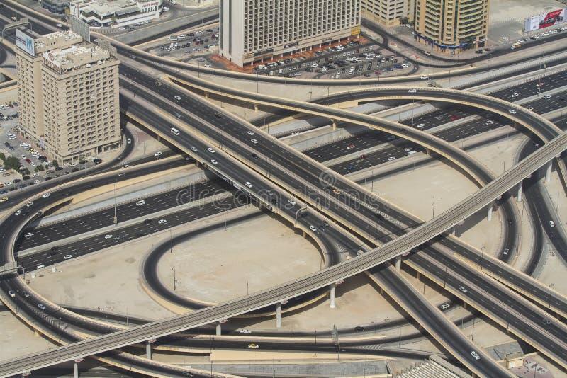 Highway junction in Dubai, UAE. royalty free stock images