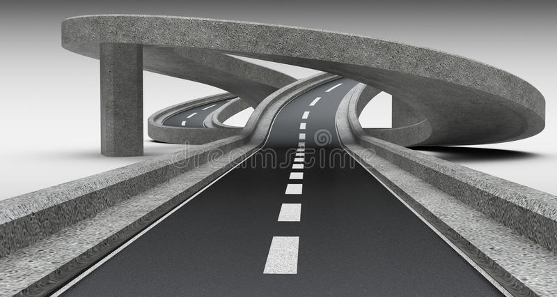 Highway junction, overpass. 3D Illustration high resolution stock illustration