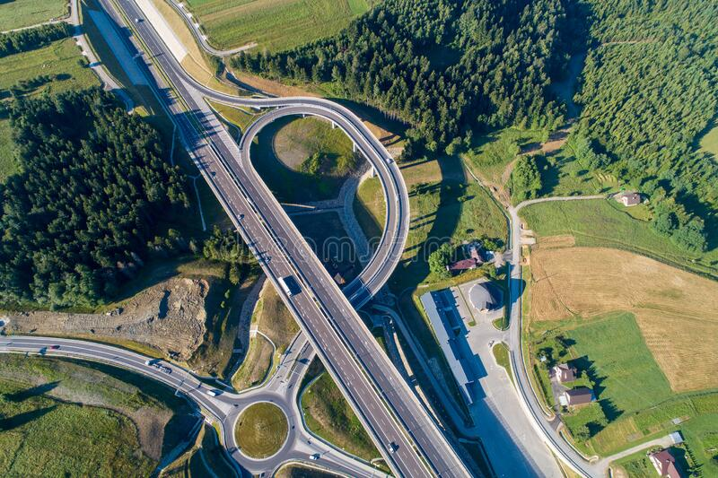 Highway junction on Zakopianka in Poland royalty free stock images