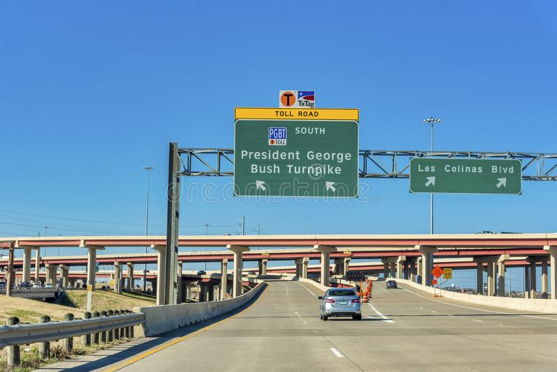 Highway leading to the President George Bush Turnpike in Dallas, Texas. DALLAS, UNITED STATES - Dec 29, 2018: The highway leading to the President George Bush royalty free stock photography