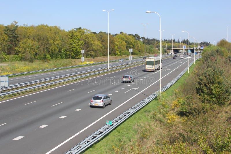 Highway A28 at Leusden, Amersfoort, Holland. Traffic on highway A28 at Leusden, Amersfoort in the Netherlands stock photo