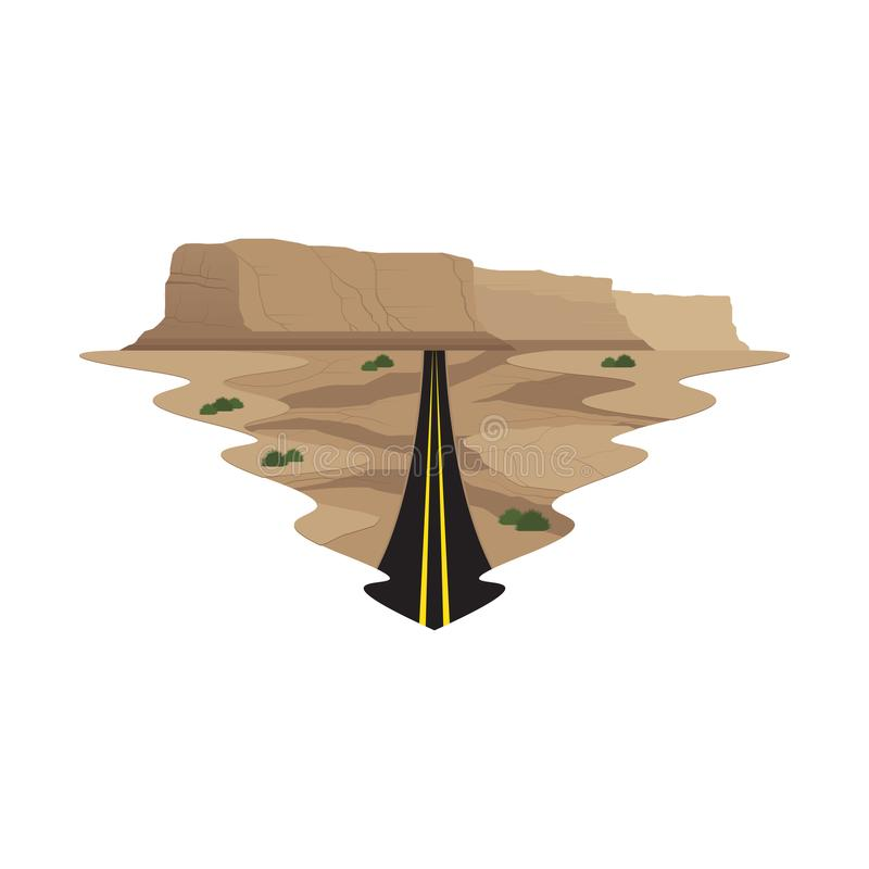 Highway Long Road Travel and Trip Landscape royalty free illustration