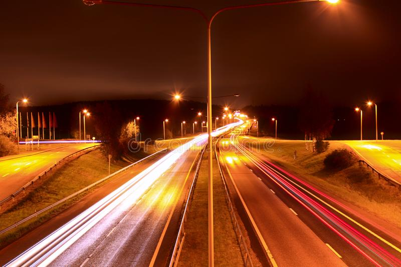 Highway longexposure from Espoo, Finland royalty free stock images