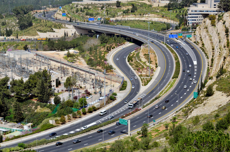 Download Highway With Many Cars In Jerusalem, Top View Stock Image - Image: 24288563
