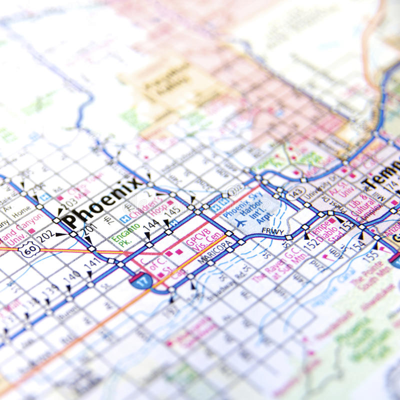 Highway map of Phoenix Arizona. Travel map or atlas showing routes in and around Phoenix, Arizona USA royalty free stock photo