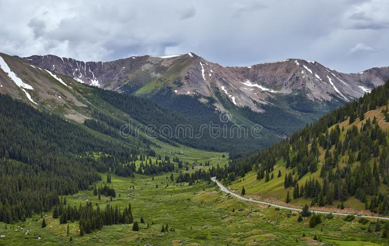 Independence Pass, Colorado. Highway 82 meanders around Independence Pass towards the mountains near Aspen, Colorado stock photography