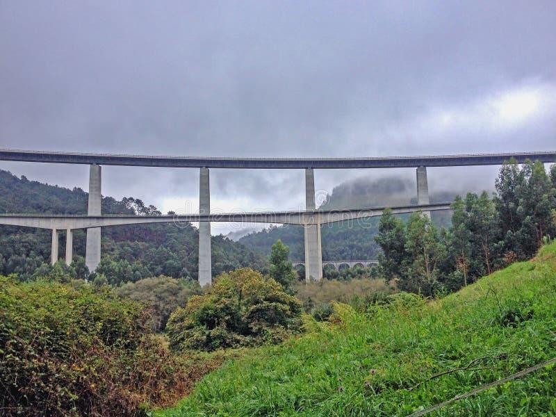 Highway monumental bridge in Asturias Camino del Norte, the Northern Way of Saint James in Spain stock photography