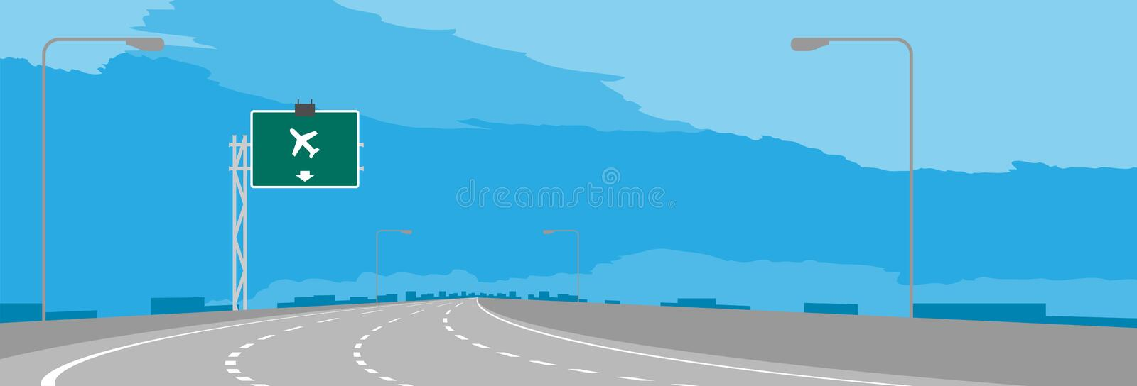 Highway or motorway bend and green signage with airport sign in daytime illustration. Isolated on blue sky background vector illustration