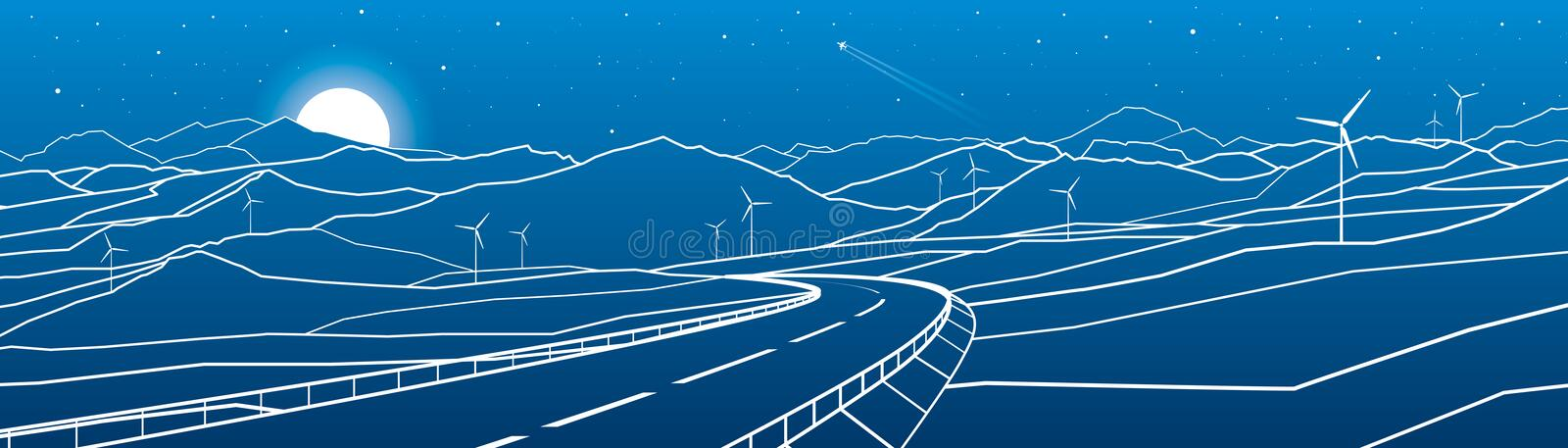 Highway in the mountains. Sunset behind the rocks. Night scene. White lines on blue background. Windmills power. Vector design art vector illustration
