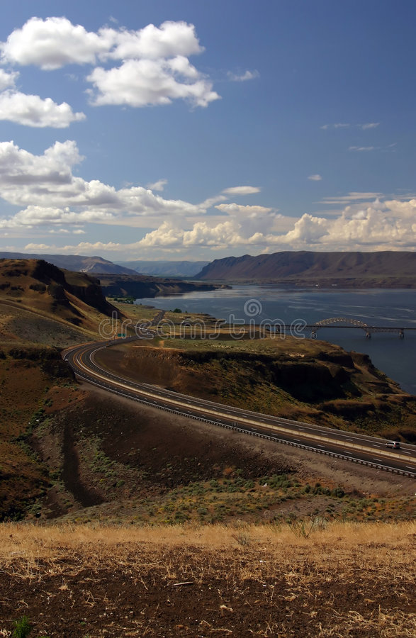 Highway near Columbia River. A view of Highway and Columbia river in Eastern (Central) Washington state stock photography