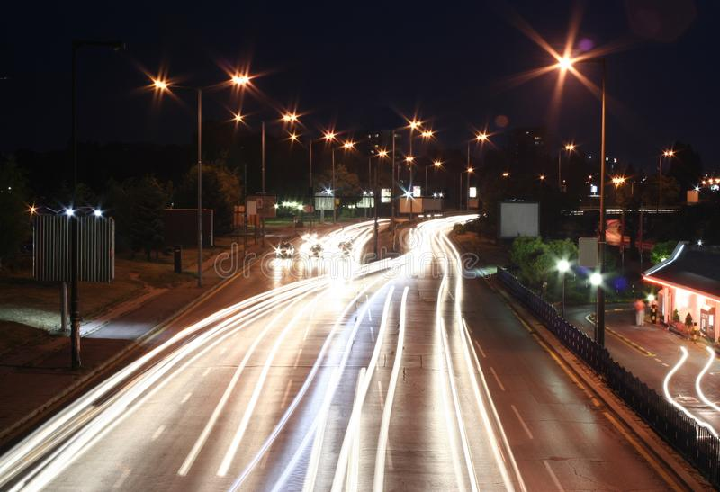 Highway in the night royalty free stock photos