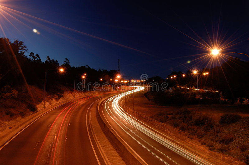 Download Highway By Night stock image. Image of dark, asphalt, curve - 5068097