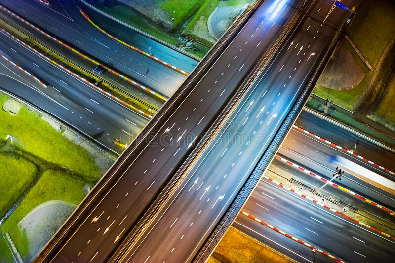 Highway at night aerial view royalty free stock photo