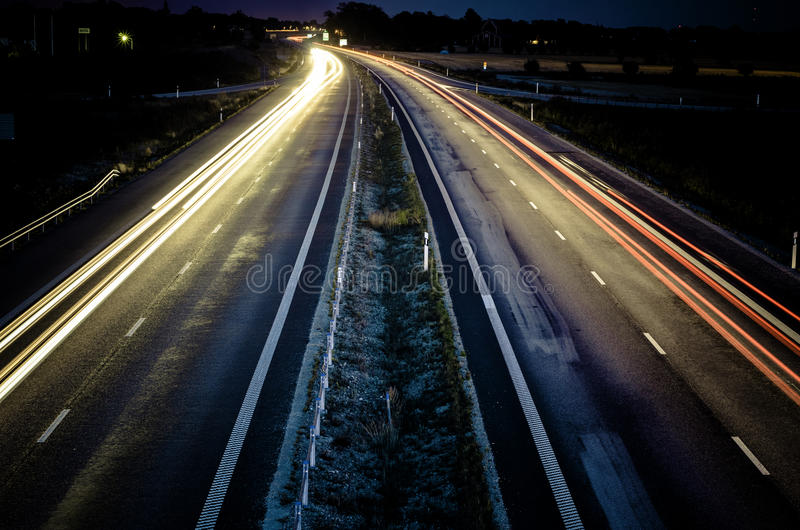 Highway at night. Long exposure stock image