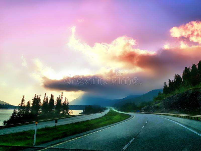 Highway No. 1 from Banff to Calgary, Canada. Of   lake, banff, canada, nature, art, scenery, landscape stock image