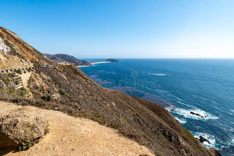 Highway no 1 at the pacific coast royalty free stock photography