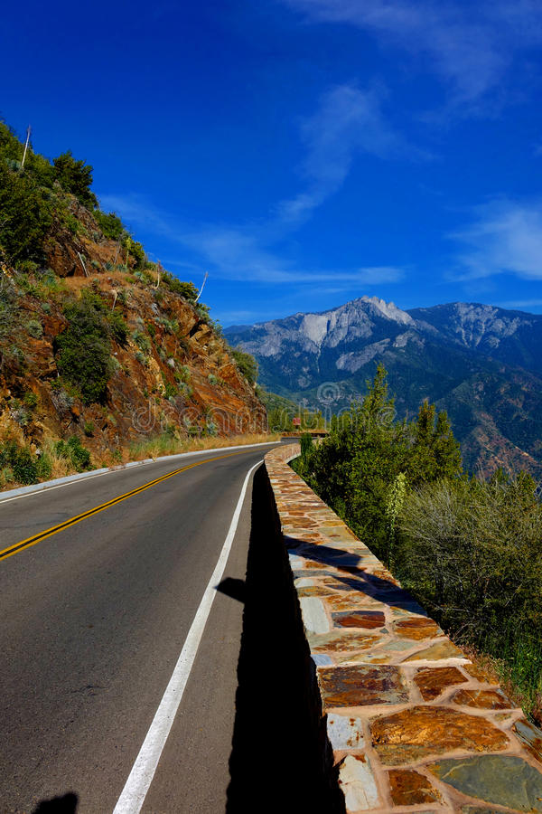 Highway Out of Sequoia National Park. This scenic, California highway leads out of Sequoia National Park royalty free stock photos