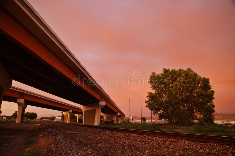 Download Highway overpass stock photo. Image of dusk, travel, sunset - 1235954