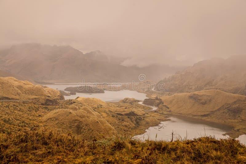 Highway Passing On The Shore Of Atillo Lagoon, Ecuador stock images