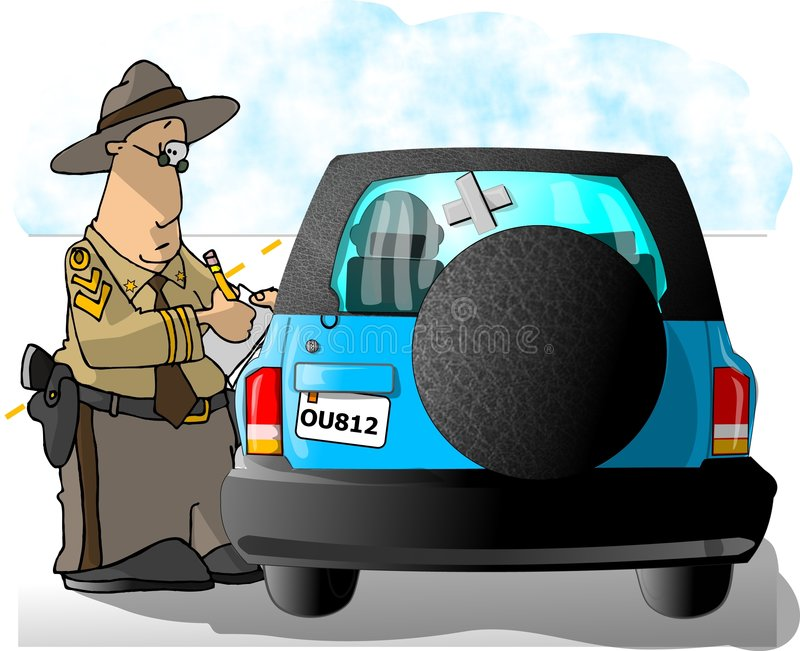 Highway Patrol writing a ticket stock illustration