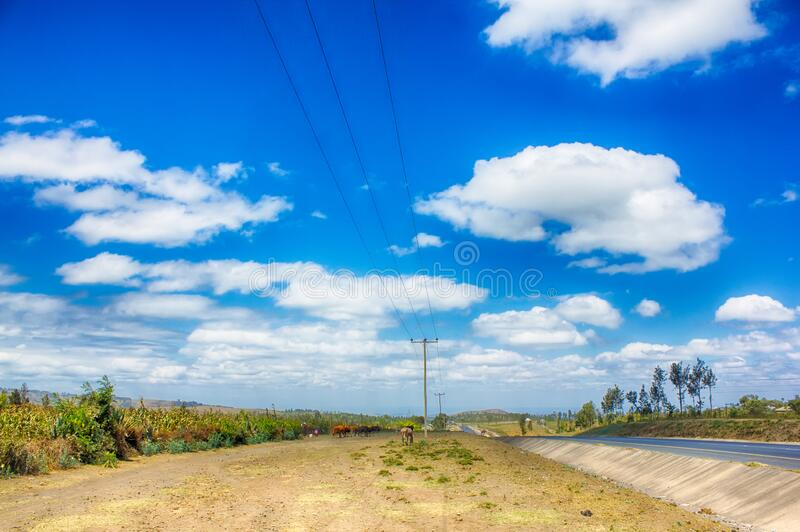 Highway with power lines. Power lines run alongside a highway in northern Tanzania royalty free stock images