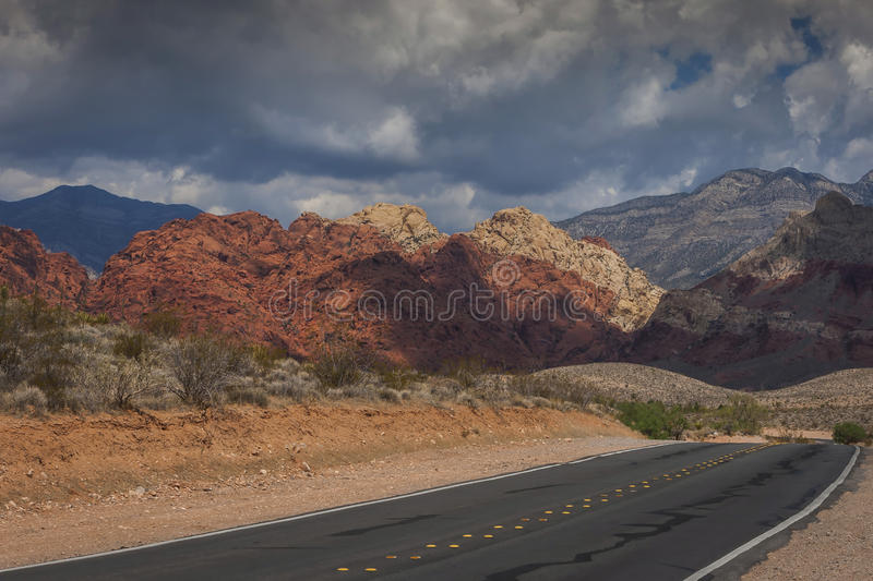 Highway in Red Rock Canyon royalty free stock image