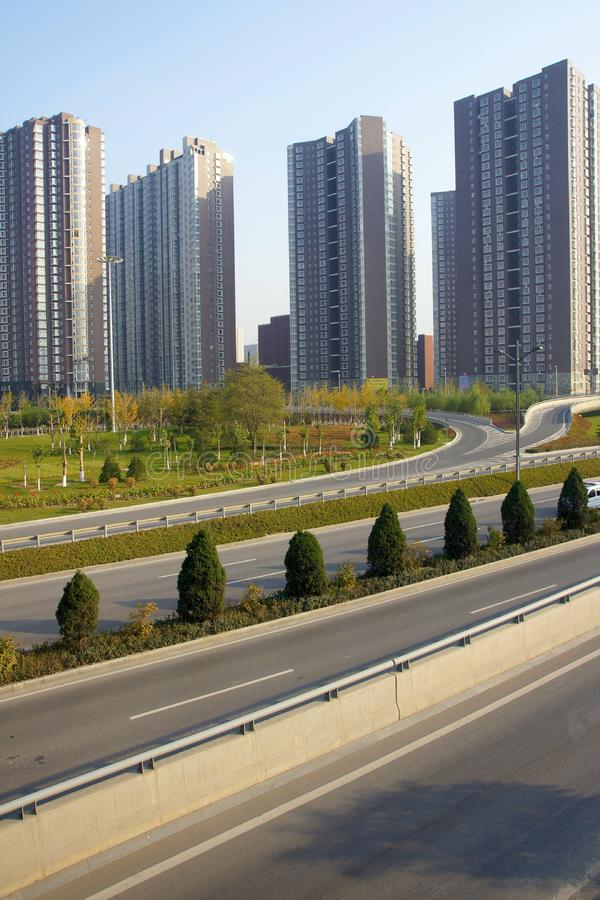 Download Highway And Residential Buildings Stock Image - Image of tree, trees: 21811179