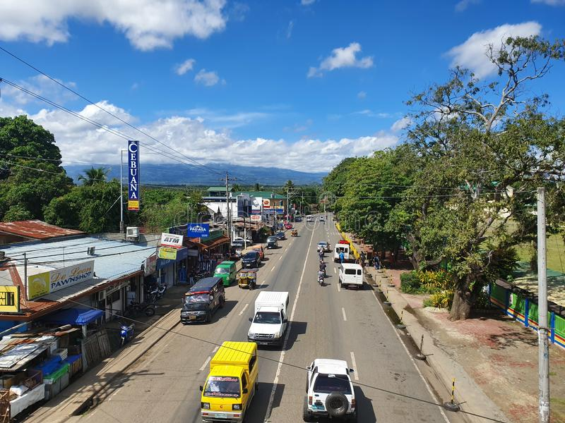 Highway Road from Davao City to Bukidnon, Philippines on a Sunny Day royalty free stock photos