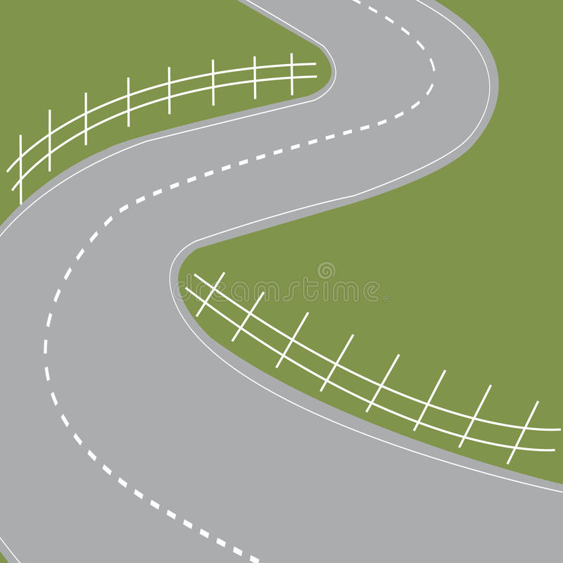 Highway road symbol. With hairpin bends and fields - vector stock illustration