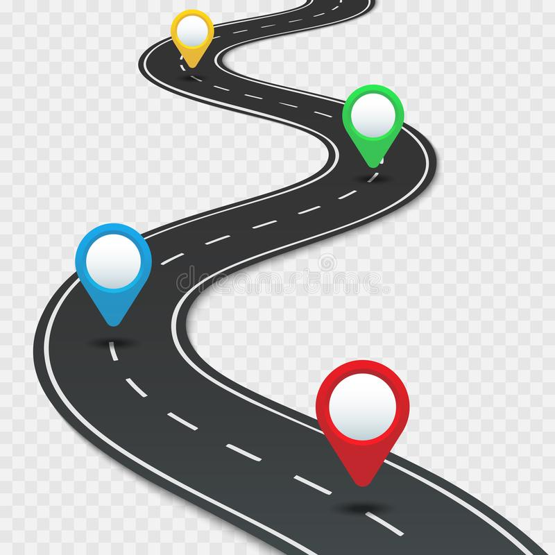 Highway roadmap with pins. Car road direction, gps route pin road trip navigation and roads business infographic vector stock illustration