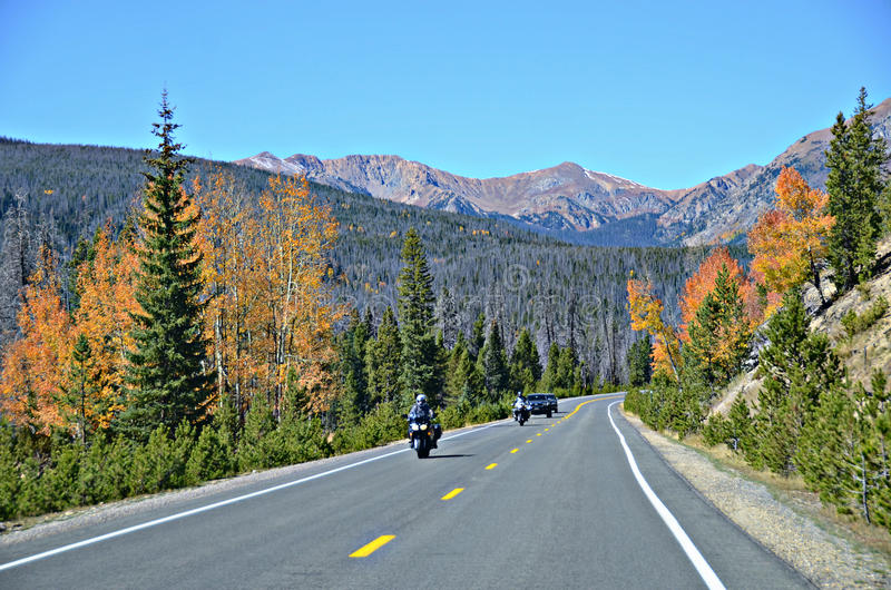Highway 34, Rocky Mountain National Park. Colorful autumn and highway 34 in Rocky Mountain National Park, Colorado stock photography