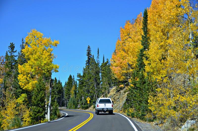 Highway 34, Rocky Mountain National Park. Colorful autumn and highway 34 in Rocky Mountain National Park, Colorado royalty free stock photos