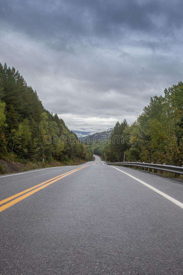 Highway in Gaspe Quebec. Highway rolling in a park in Gaspe Quebec Canada royalty free stock images