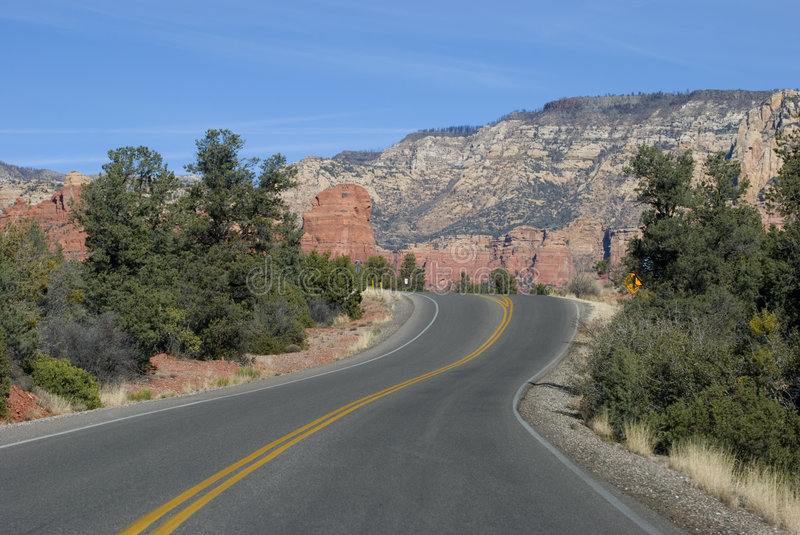 Highway in Sedona mountains stock images