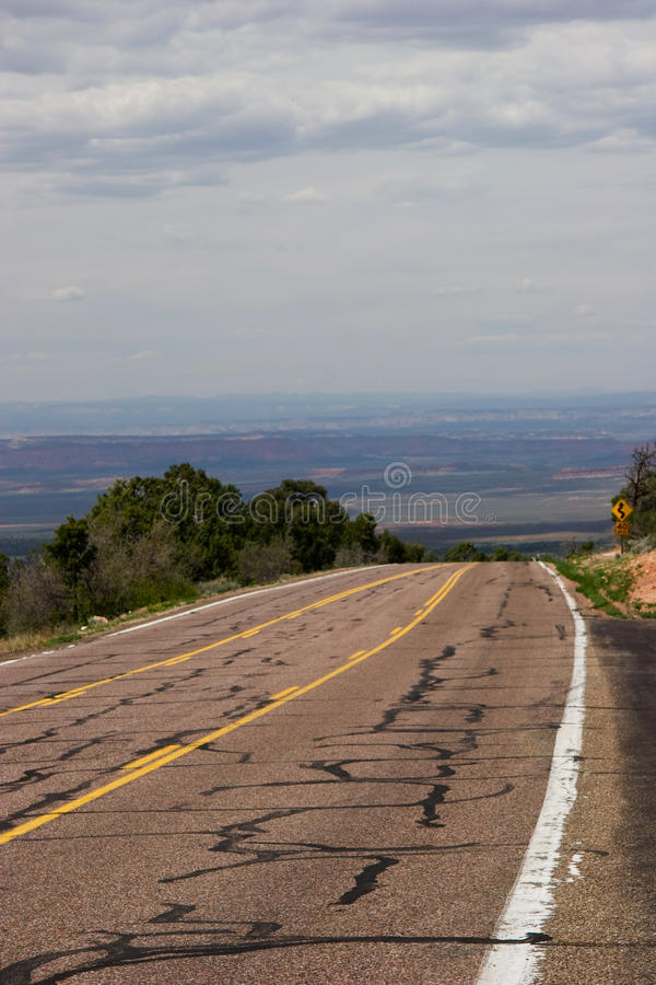 Highway 89 seems to vanish into the valley below - Kaibab National Forest, Arizona. USA. Looking towards southern Utah royalty free stock photo