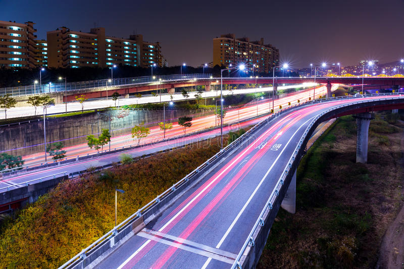 Highway in Seoul at night stock image