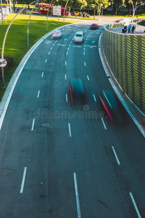 Highway shot view from above with vehicles in motion royalty free stock image
