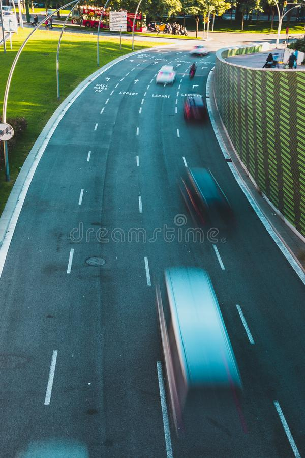 Highway shot view from above with vehicles in motion stock image
