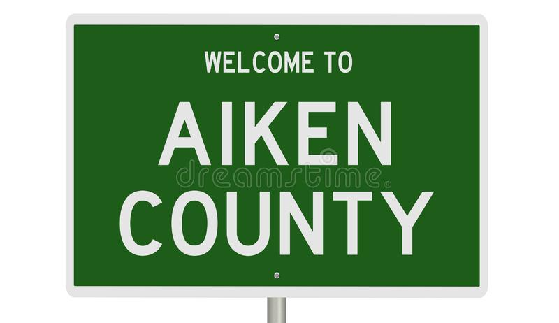 Highway sign for Aiken County. Rendering of a 3d green road sign for Aiken County stock photo