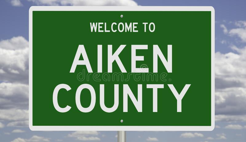 Highway sign for Aiken County. Rendering of a 3d green road sign for Aiken County royalty free stock photography