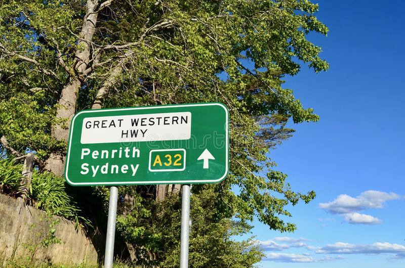 A highway sign in the Blue Mountains royalty free stock image