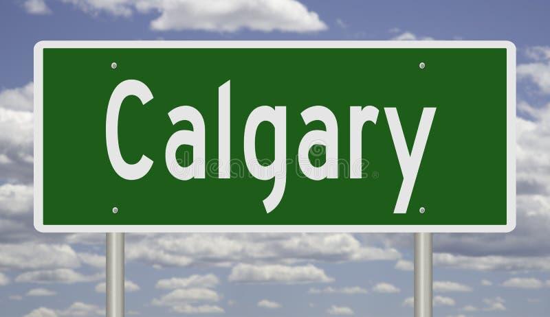 Highway sign for Calgary Alberta Canada. Rendering of a green freeway sign for Calgary Alberta royalty free illustration
