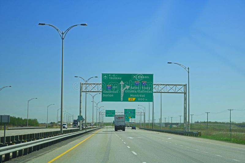 Highway Sign Coming Into Montreal, Quebec, Canada stock photo