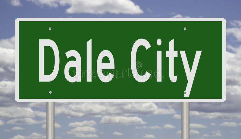 Highway sign for Dale City. Rendering of a green road sign for Dale City Virginia vector illustration