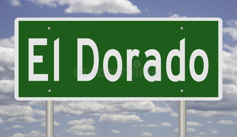 Highway sign for El Dorado Arkansas vector illustration