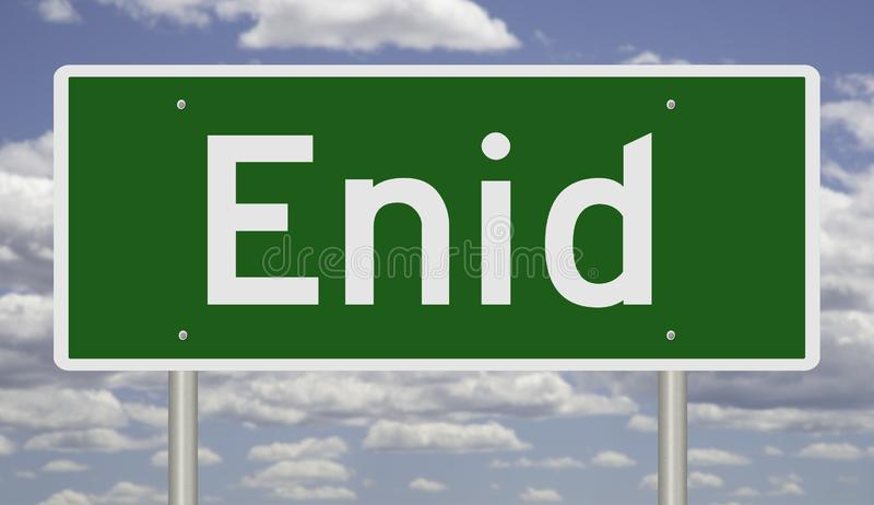 Highway sign for Enid. Rendering of a green road sign for Enid Oklahoma royalty free stock photography