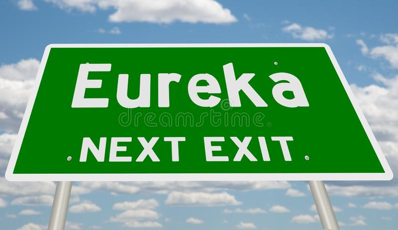 Highway sign for Eureka. Rendering of a green road sign for Eureka, next exit royalty free stock photos