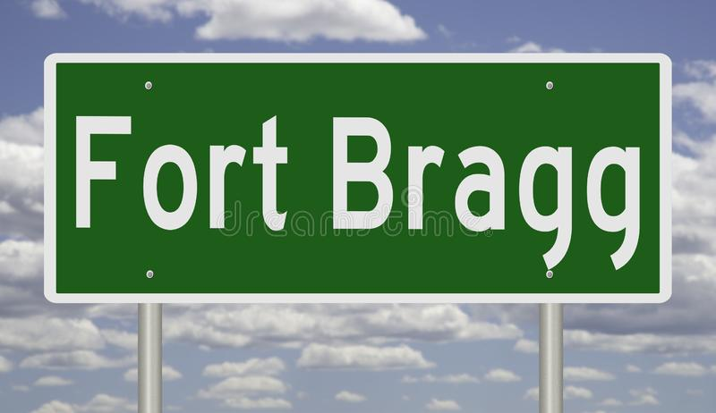 Highway sign for Fort Bragg Texas. Rendering of a green highway sign for Fort Bragg stock photos