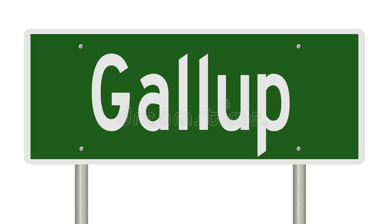 Highway sign for Gallup New Mexico. Rendering of a green highway sign for Gallup New Mexico stock illustration