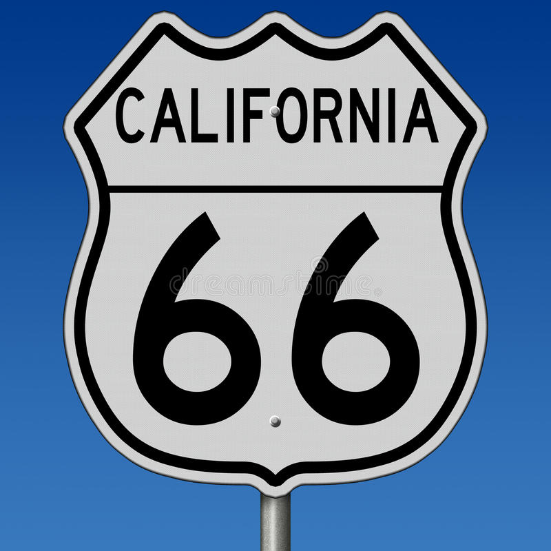 Highway sign for historic Route 66 in California vector illustration